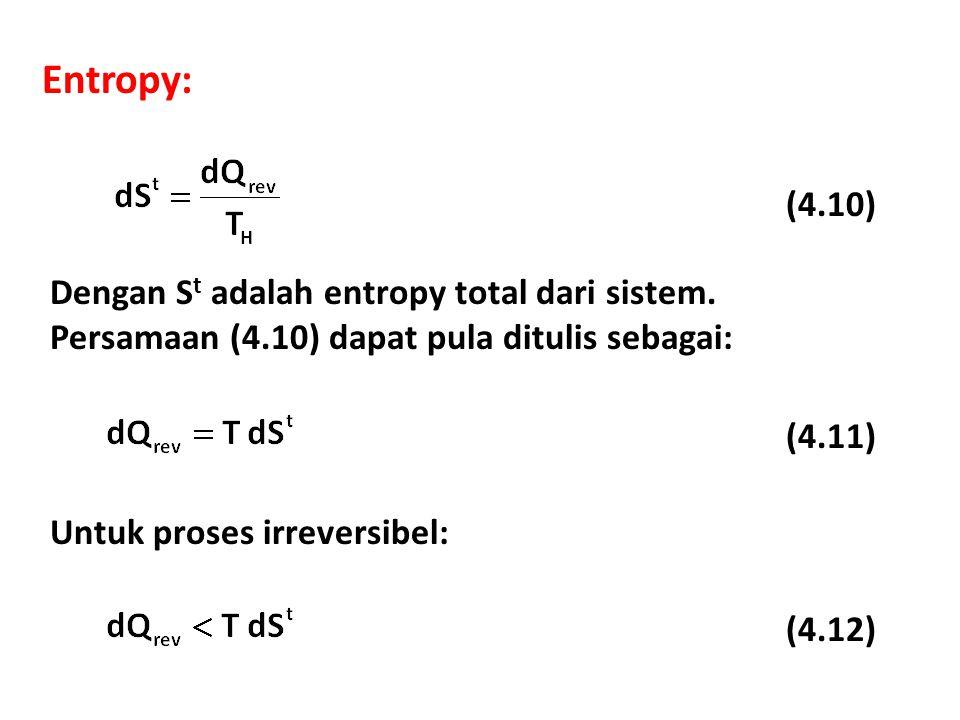 Entropy: (4.10) Dengan S t adalah entropy total dari sistem.
