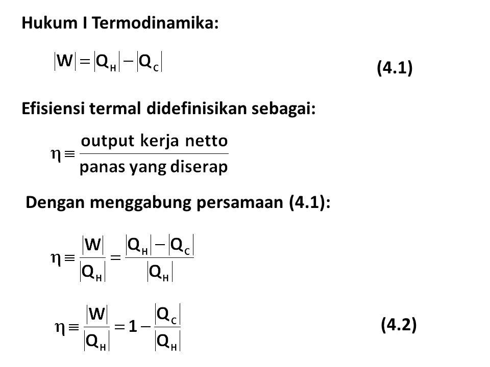 Hukum I Termodinamika: (4.1) Efisiensi termal didefinisikan sebagai: (4.2) Dengan menggabung persamaan (4.1):