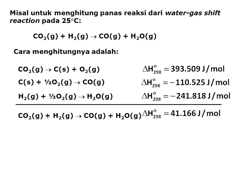 Misal untuk menghitung panas reaksi dari water-gas shift reaction pada 25C: CO 2 (g) + H 2 (g)  CO(g) + H 2 O(g) Cara menghitungnya adalah: CO 2 (g)