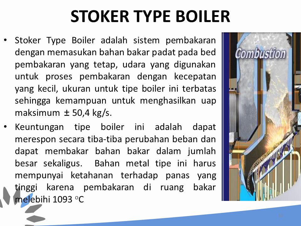 STOKER TYPE BOILER Stoker Type Boiler adalah sistem pembakaran dengan memasukan bahan bakar padat pada bed pembakaran yang tetap, udara yang digunakan
