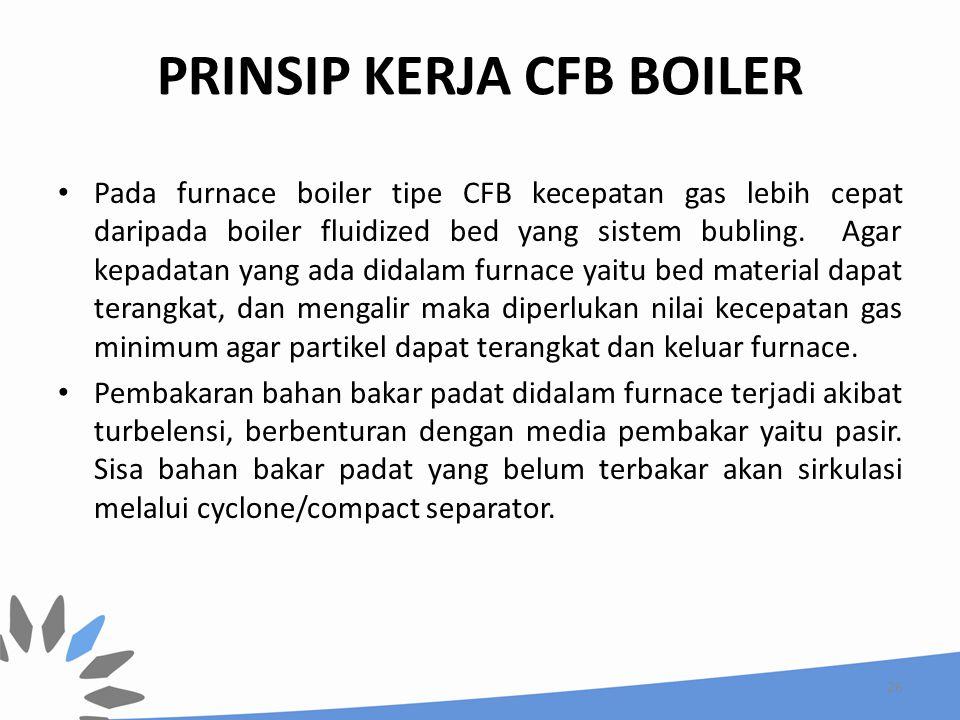 PRINSIP KERJA CFB BOILER Pada furnace boiler tipe CFB kecepatan gas lebih cepat daripada boiler fluidized bed yang sistem bubling. Agar kepadatan yang