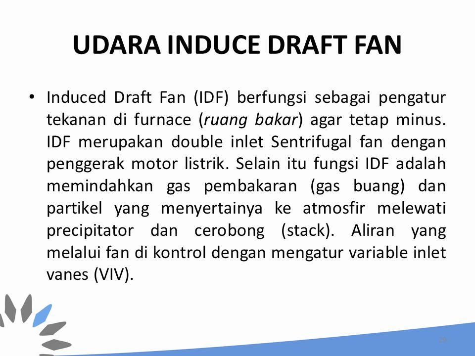 UDARA INDUCE DRAFT FAN Induced Draft Fan (IDF) berfungsi sebagai pengatur tekanan di furnace (ruang bakar) agar tetap minus. IDF merupakan double inle