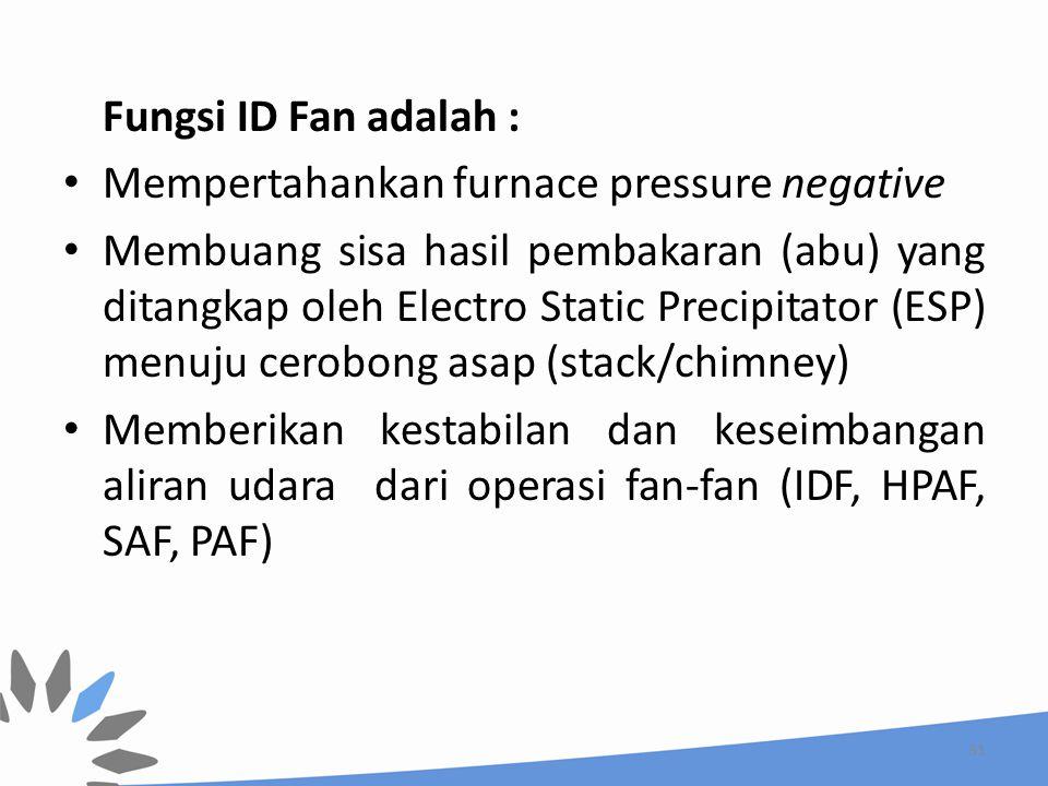 Fungsi ID Fan adalah : Mempertahankan furnace pressure negative Membuang sisa hasil pembakaran (abu) yang ditangkap oleh Electro Static Precipitator (