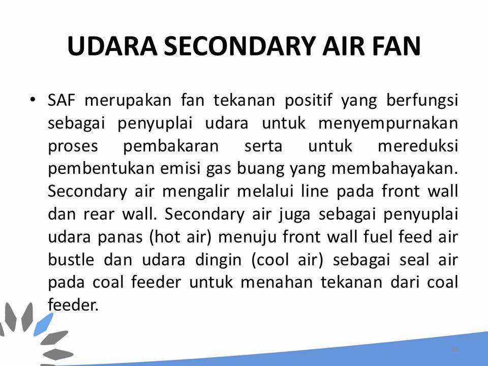 UDARA SECONDARY AIR FAN SAF merupakan fan tekanan positif yang berfungsi sebagai penyuplai udara untuk menyempurnakan proses pembakaran serta untuk me