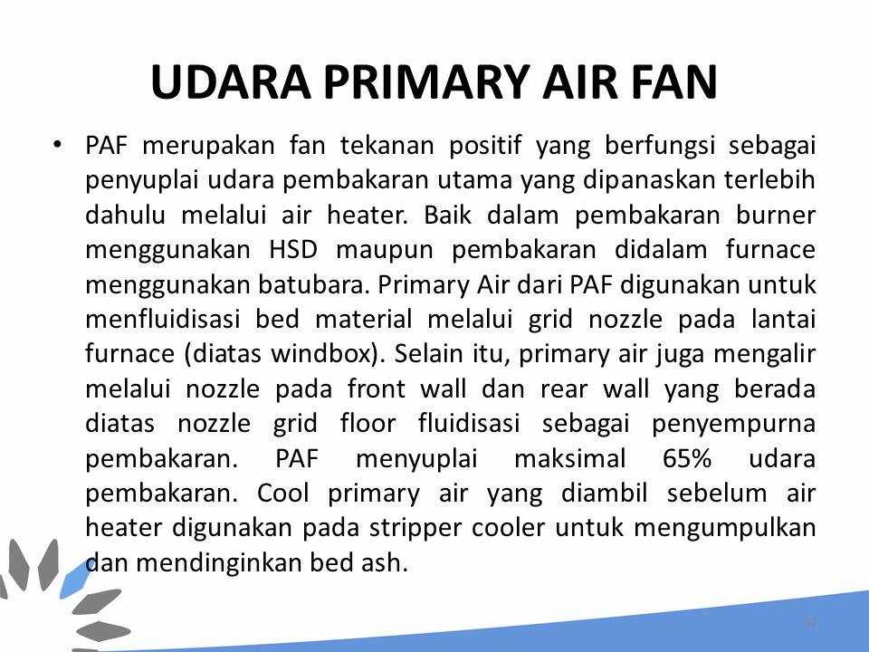 UDARA PRIMARY AIR FAN PAF merupakan fan tekanan positif yang berfungsi sebagai penyuplai udara pembakaran utama yang dipanaskan terlebih dahulu melalu