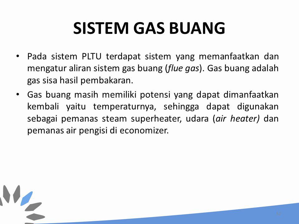 SISTEM GAS BUANG Pada sistem PLTU terdapat sistem yang memanfaatkan dan mengatur aliran sistem gas buang (flue gas). Gas buang adalah gas sisa hasil p