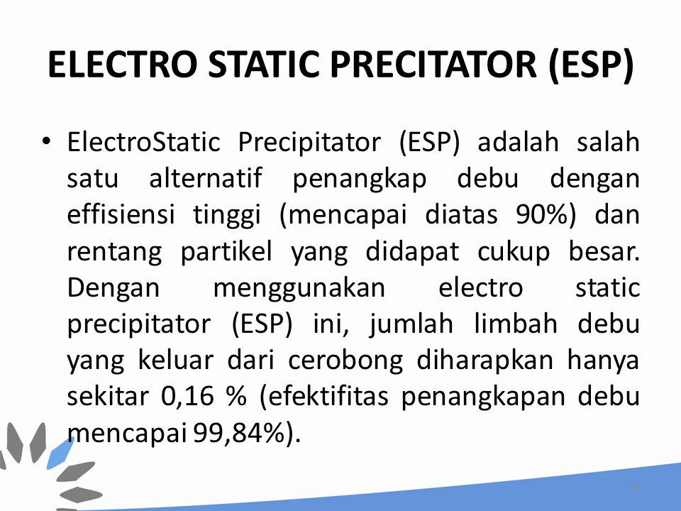 ELECTRO STATIC PRECITATOR (ESP) ElectroStatic Precipitator (ESP) adalah salah satu alternatif penangkap debu dengan effisiensi tinggi (mencapai diatas