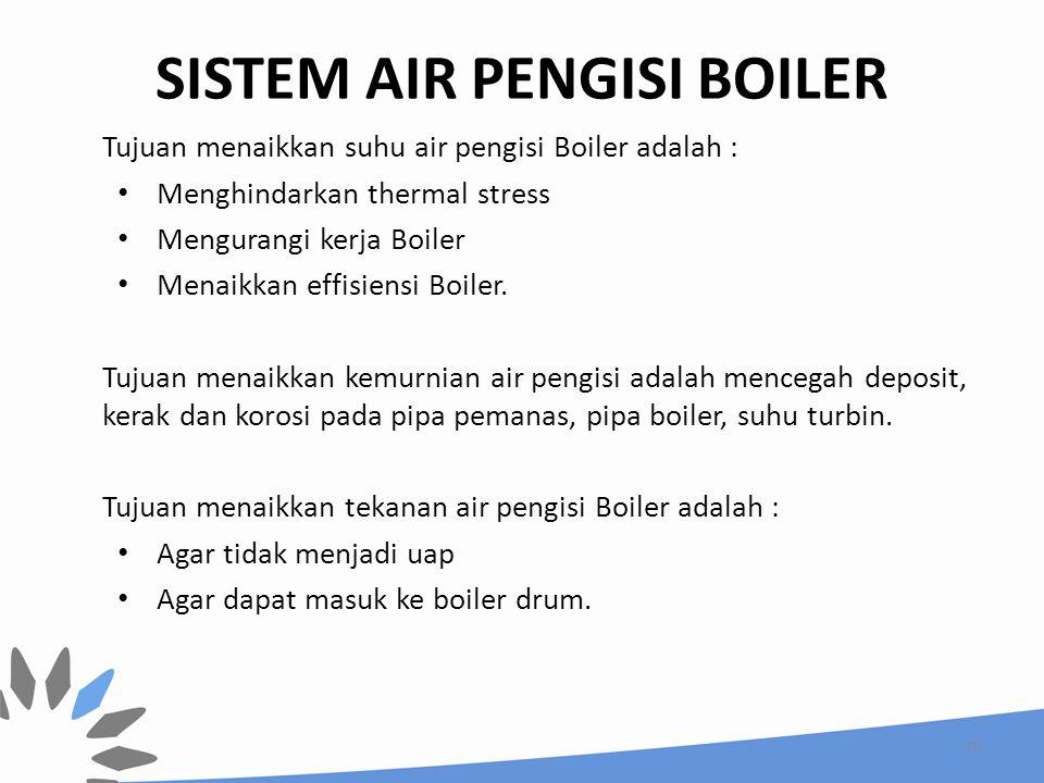SISTEM AIR PENGISI BOILER Tujuan menaikkan suhu air pengisi Boiler adalah : Menghindarkan thermal stress Mengurangi kerja Boiler Menaikkan effisiensi