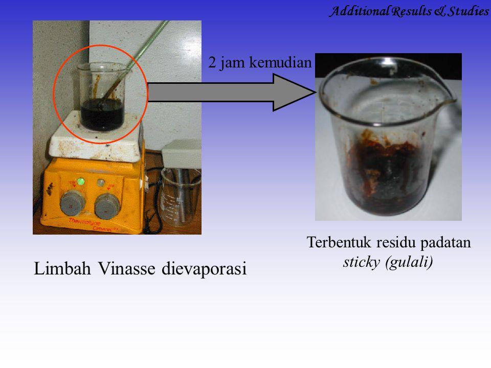 Terbentuk residu padatan sticky (gulali) Limbah Vinasse dievaporasi 2 jam kemudian Additional Results & Studies