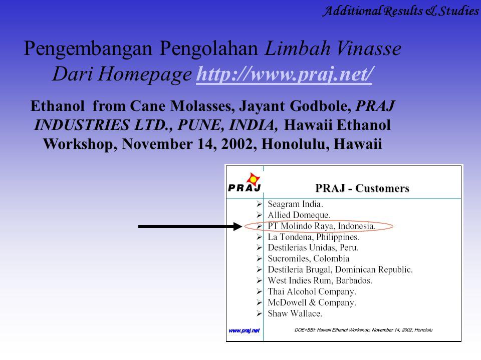 Pengembangan Pengolahan Limbah Vinasse Dari Homepage http://www.praj.net/http://www.praj.net/ Ethanol from Cane Molasses, Jayant Godbole, PRAJ INDUSTR