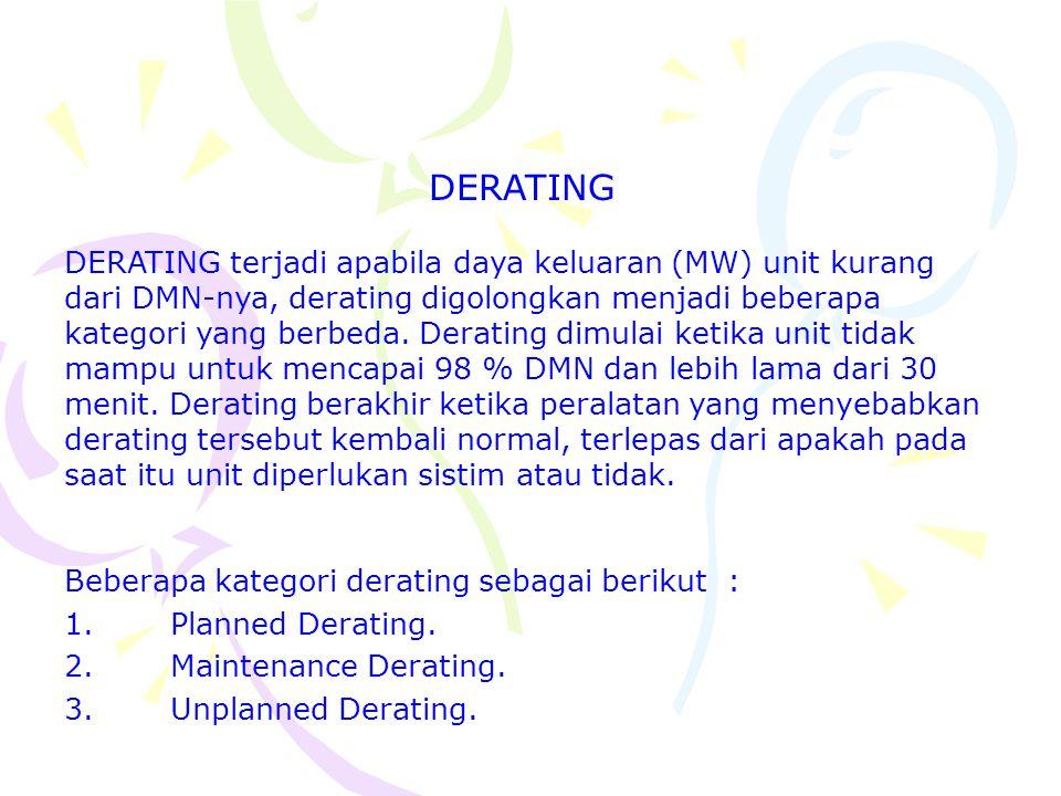DERATING terjadi apabila daya keluaran (MW) unit kurang dari DMN-nya, derating digolongkan menjadi beberapa kategori yang berbeda. Derating dimulai ke