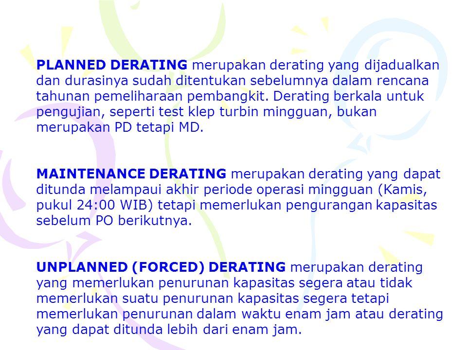 PLANNED DERATING merupakan derating yang dijadualkan dan durasinya sudah ditentukan sebelumnya dalam rencana tahunan pemeliharaan pembangkit. Derating