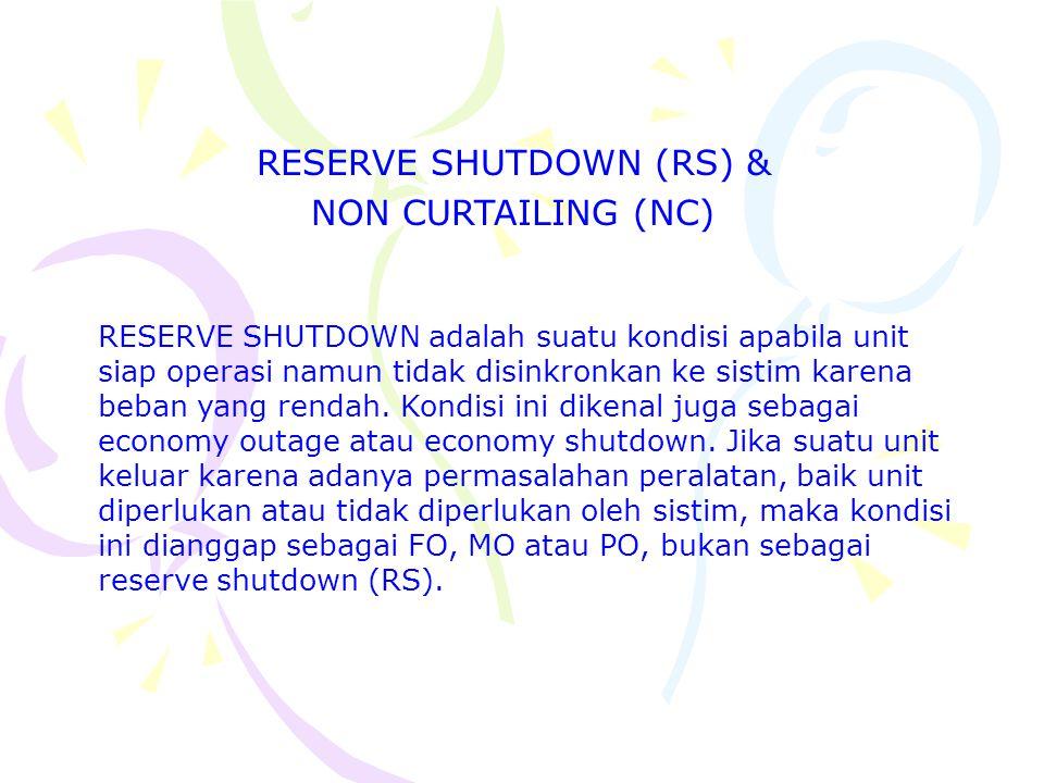 RESERVE SHUTDOWN (RS) & NON CURTAILING (NC) RESERVE SHUTDOWN adalah suatu kondisi apabila unit siap operasi namun tidak disinkronkan ke sistim karena