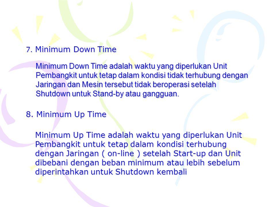 7. Minimum Down Time Minimum Down Time adalah waktu yang diperlukan Unit Pembangkit untuk tetap dalam kondisi tidak terhubung dengan Jaringan dan Mesi