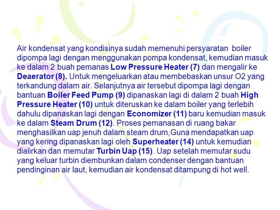 Air kondensat yang kondisinya sudah memenuhi persyaratan boiler dipompa lagi dengan menggunakan pompa kondensat, kemudian masuk ke dalam 2 buah pemana