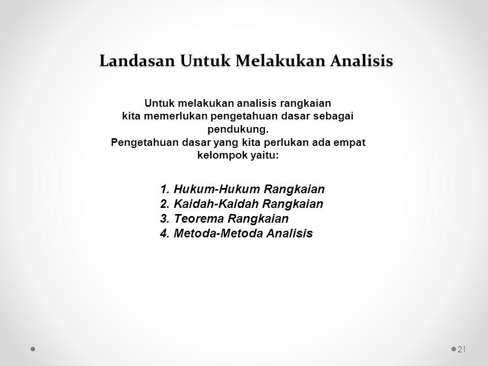Landasan Untuk Melakukan Analisis Untuk melakukan analisis rangkaian kita memerlukan pengetahuan dasar sebagai pendukung.