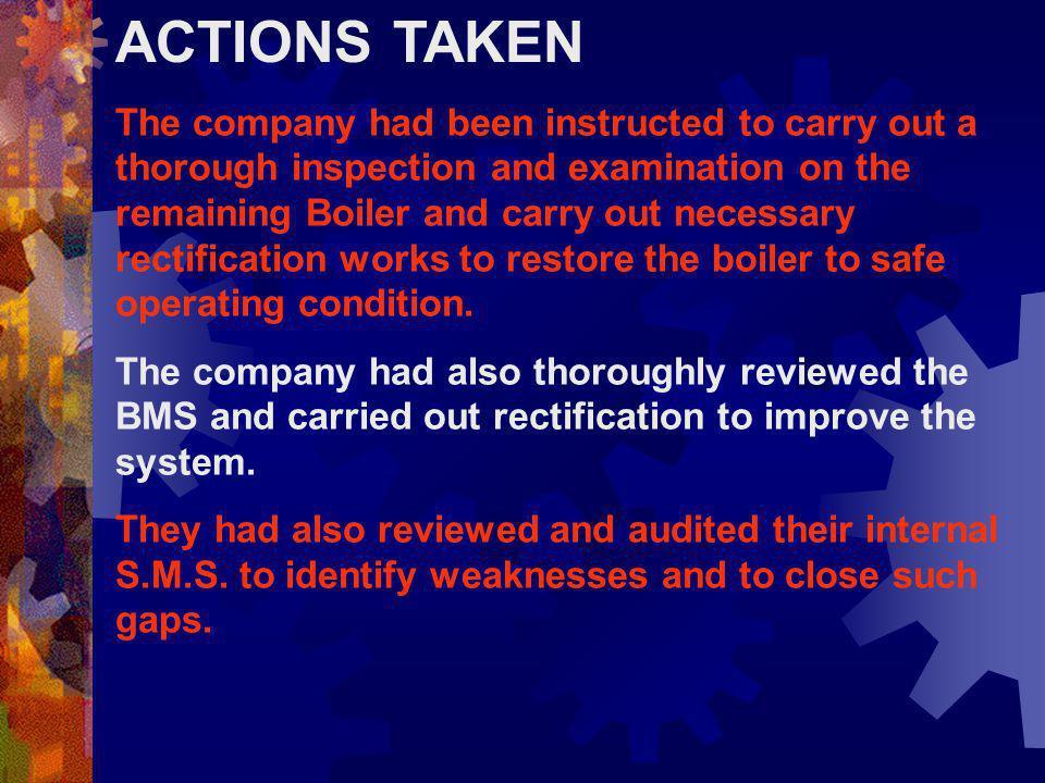 PELAJARAN YANG DAPAT DIAMBIL Semua personil yang mengoperasikan boiler harus mengikuti Prosedur Pengoperasian Aman. Otorisasi harus diperoleh sebelum