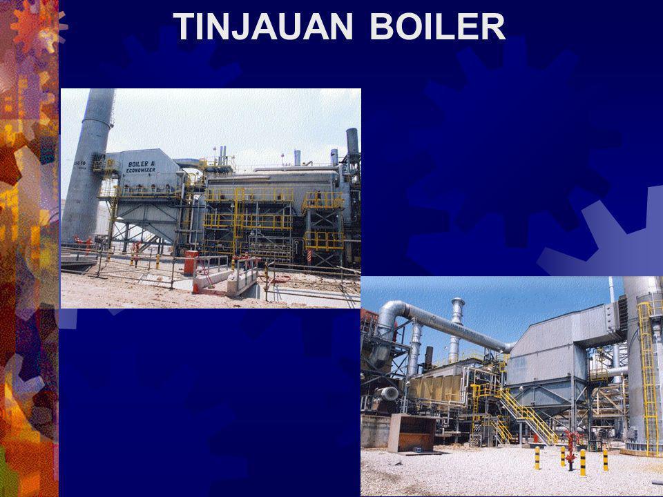 TINJAUAN BOILER Boiler yang mengalami kecelakaan merupakan boiler pipa air yang tersambung dengan economiser and superheater. Total luas permukaan pem