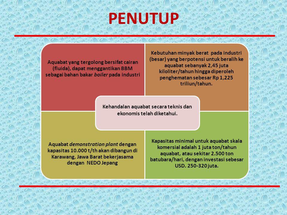 PENUTUP Aquabat yang tergolong bersifat cairan (fluida), dapat menggantikan BBM sebagai bahan bakar boiler pada industri Kebutuhan minyak berat pada i
