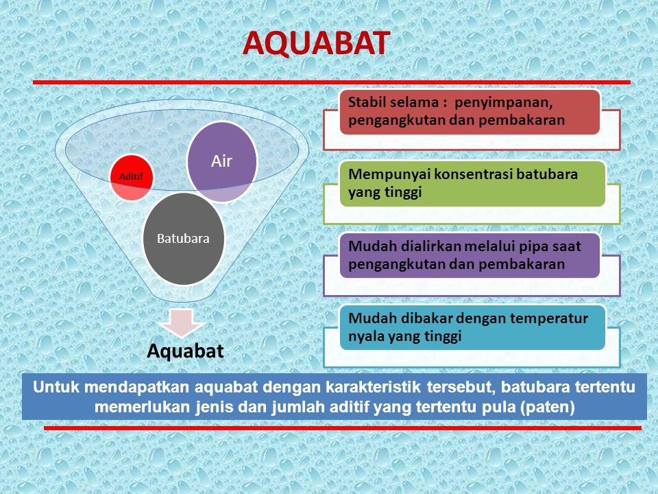 Aquabat Batubara Aditif Air Stabil selama : penyimpanan, pengangkutan dan pembakaran Mempunyai konsentrasi batubara yang tinggi Mudah dialirkan melalu