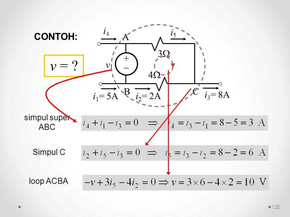 ++ 33 44 v i 4 i 1 = 5A i 3 = 8A A BC i 5 i 2 = 2A simpul super ABC Simpul C loop ACBA v = ? CONTOH: 120