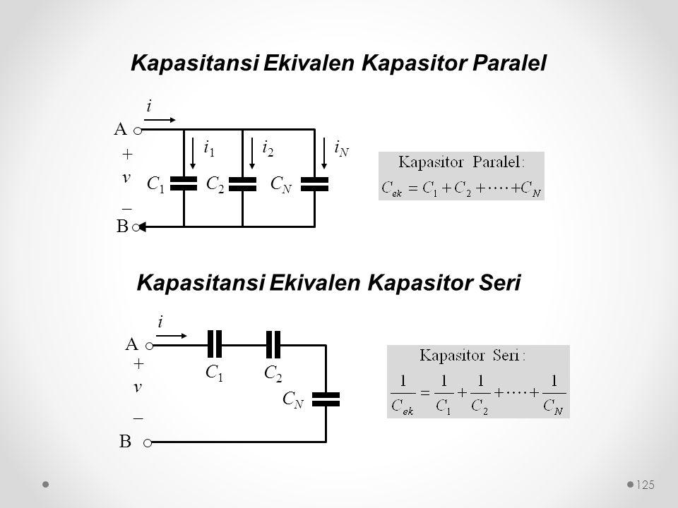 Kapasitansi Ekivalen Kapasitor Paralel C1C1 i1i1 C2C2 i2i2 CNCN iNiN B A + v _ i C1C1 C2C2 CNCN B A + v _ i Kapasitansi Ekivalen Kapasitor Seri 125