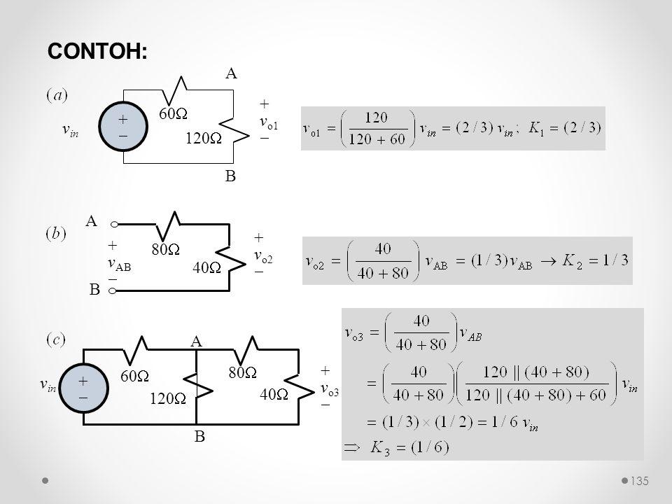 CONTOH: v in ++ 120  60  + v o1  A B A B + v AB  + v o2  80  40  B + v o3  v in ++ 120  60  A 80  40  135