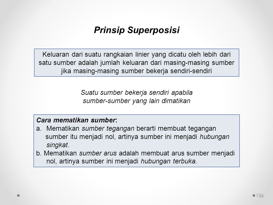 Prinsip Superposisi Keluaran dari suatu rangkaian linier yang dicatu oleh lebih dari satu sumber adalah jumlah keluaran dari masing-masing sumber jika
