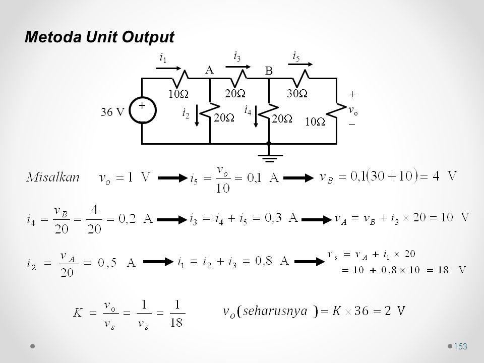 153 Metoda Unit Output 10  36 V ++ 20  30  20  10  20  i1i1 i3i3 i5i5 i2i2 i4i4 +vo+vo A B