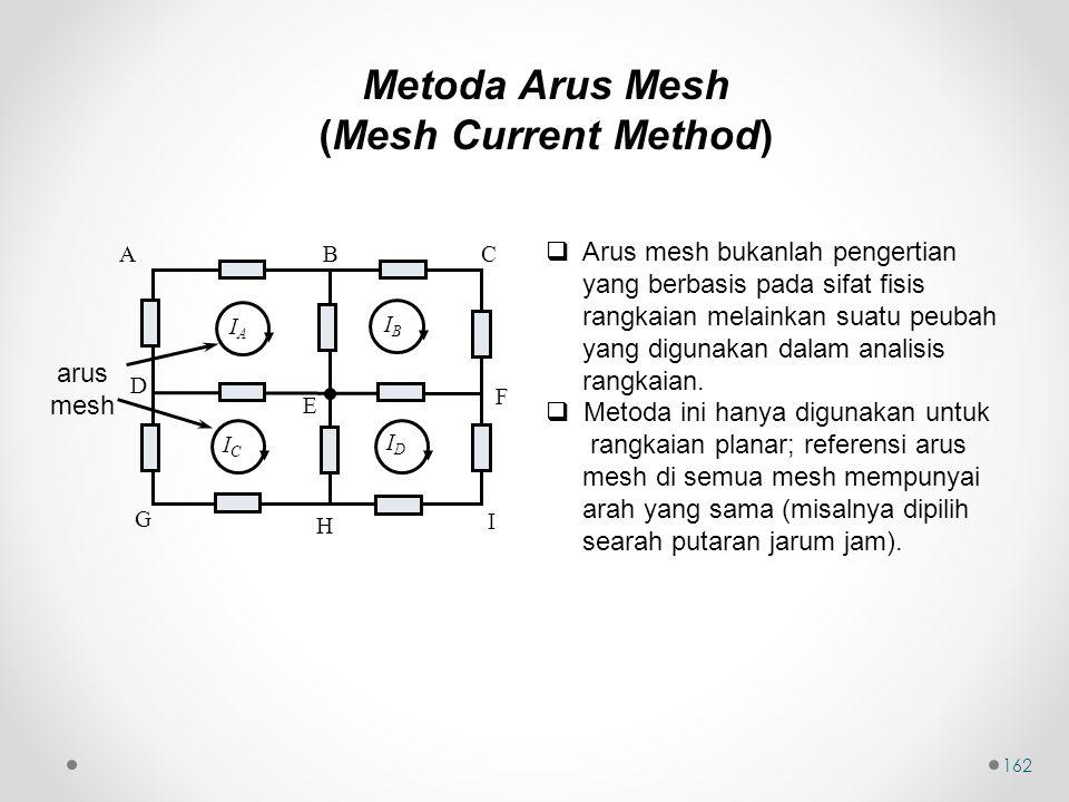 162  Arus mesh bukanlah pengertian yang berbasis pada sifat fisis rangkaian melainkan suatu peubah yang digunakan dalam analisis rangkaian.  Metoda
