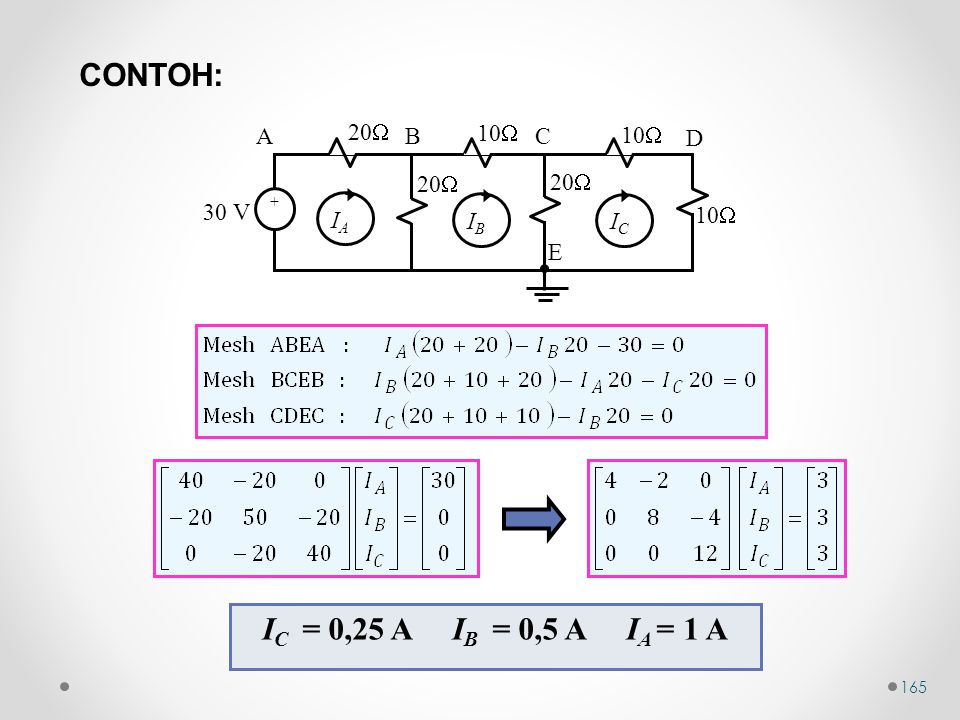 165 10  30 V 20  10  20  10  AB C D E ++ ICIC IBIB IAIA I C = 0,25 A I B = 0,5 A I A = 1 A CONTOH: