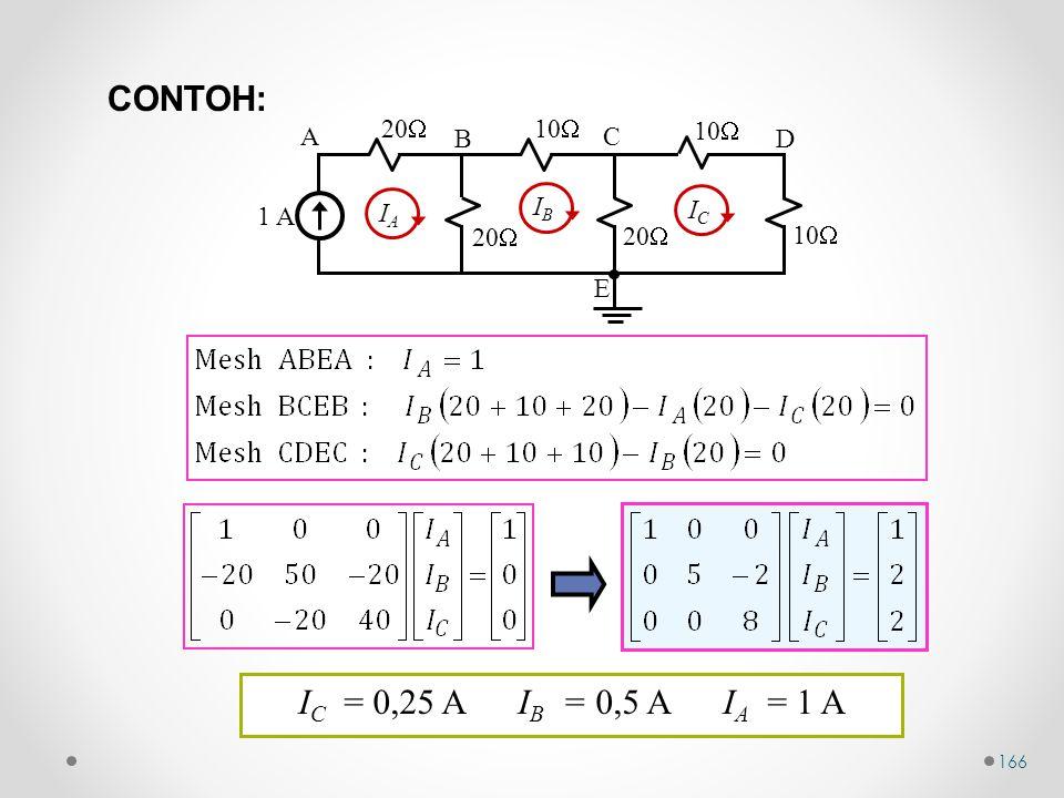 166 10  1 A 20  10  20  10  A B C D E IAIA IBIB ICIC I C = 0,25 A I B = 0,5 A I A = 1 A CONTOH: