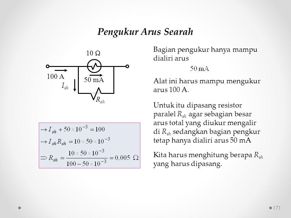 Pengukur Arus Searah 50 mA R sh 10  100 A I sh Bagian pengukur hanya mampu dialiri arus Alat ini harus mampu mengukur arus 100 A. Untuk itu dipasang