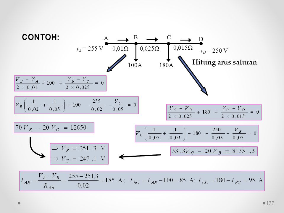 100A 0,01  0,025  0,015  A D BC 180A v D = 250 V v A = 255 V CONTOH: Hitung arus saluran 177