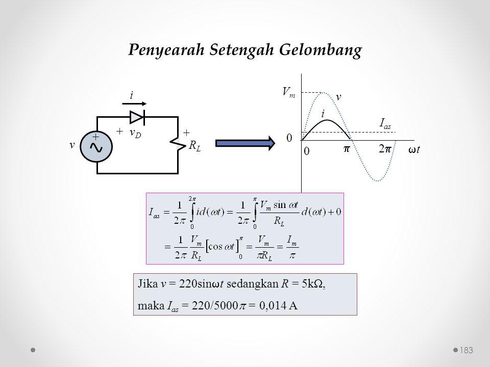 Penyearah Setengah Gelombang v i VmVm I as  22 0 tt 0 Jika v = 220sin  t sedangkan R = 5k , maka I as = 220/5000  = 0,014 A v + v D RLRL + i +