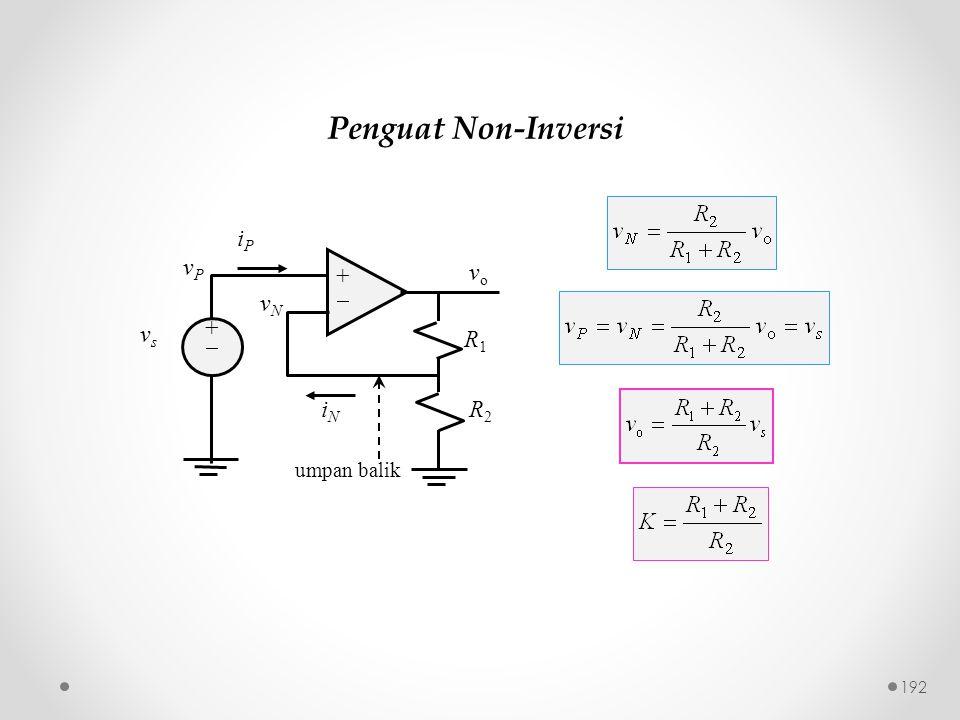 Penguat Non-Inversi ++ ++ iPiP iNiN vPvP vsvs vNvN R1R1 R2R2 vo vo umpan balik 192