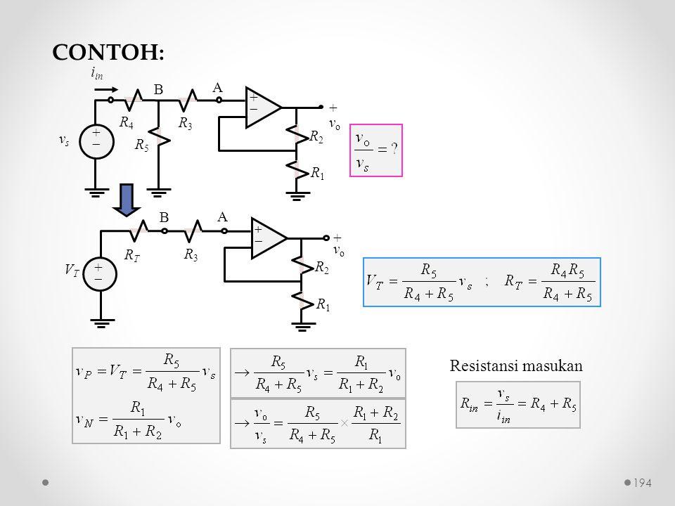 Resistansi masukan R2R2 ++ ++ + v o R1R1 R3R3 vsvs A i in R4R4 R5R5 B R2R2 ++ ++ +vo+vo R1R1 R3R3 VTVT A RTRT B CONTOH: 194