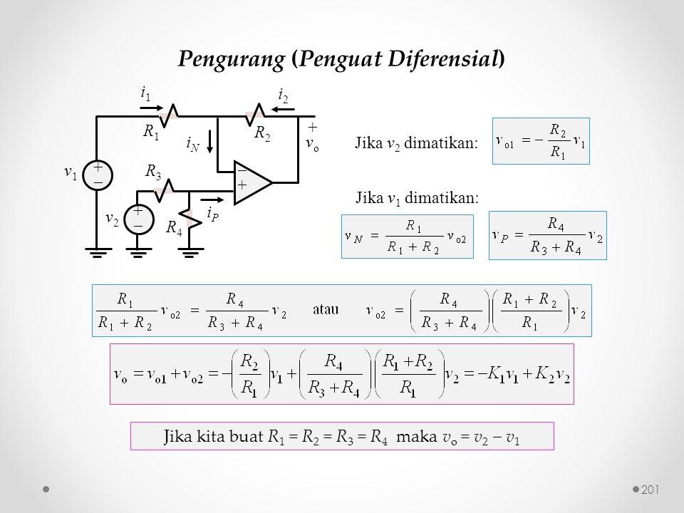 Pengurang (Penguat Diferensial) R3R3 ++ ++ i2i2 iNiN v2v2 R1R1 +vo+vo iPiP ++ v1v1 i1i1 R2R2 R4R4 Jika kita buat R 1 = R 2 = R 3 = R 4 maka v o