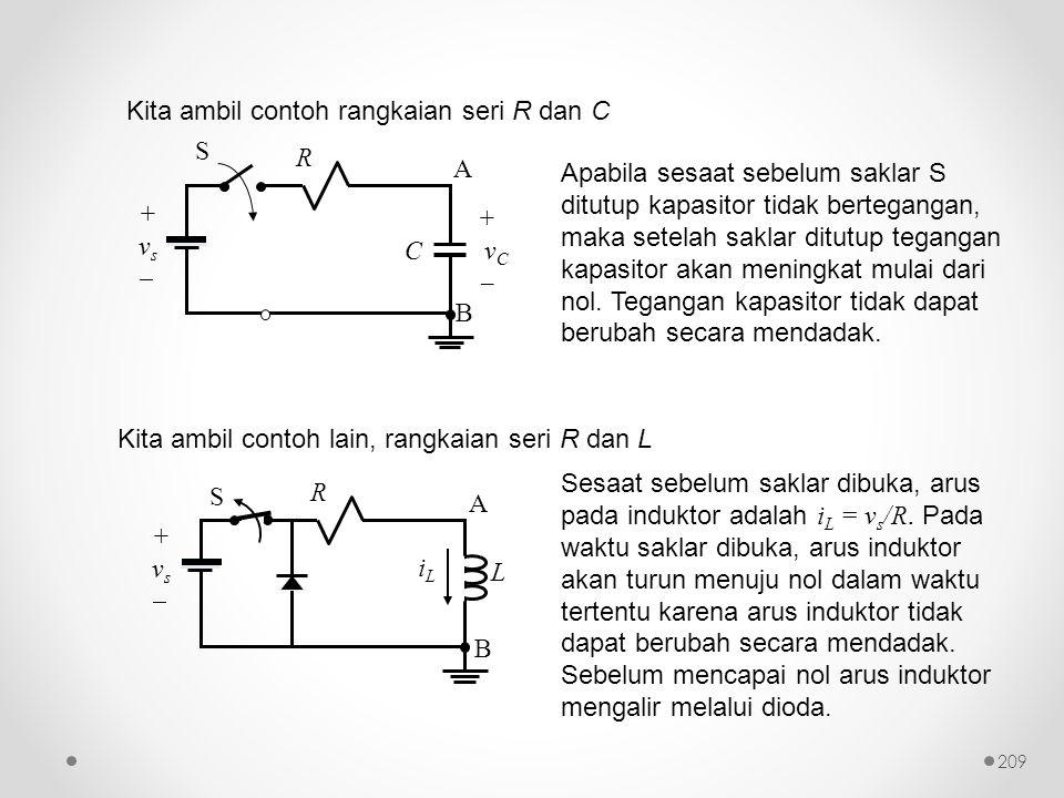 Kita ambil contoh rangkaian seri R dan C Kita ambil contoh lain, rangkaian seri R dan L Apabila sesaat sebelum saklar S ditutup kapasitor tidak berteg