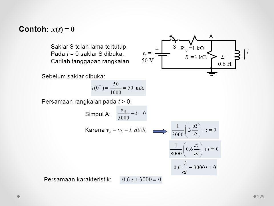 Contoh : x(t) = 0 Saklar S telah lama tertutup. Pada t = 0 saklar S dibuka. Carilah tanggapan rangkaian Karena v A = v L = L di/dt, Simpul A: Sebelum