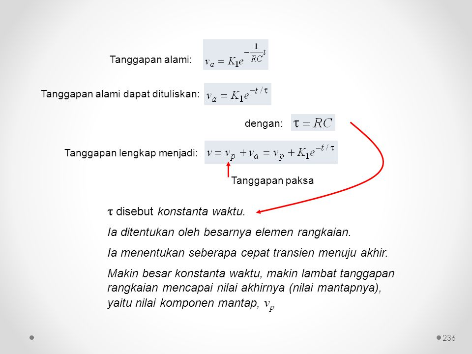 Tanggapan alami dapat dituliskan:  disebut konstanta waktu. Ia ditentukan oleh besarnya elemen rangkaian. Ia menentukan seberapa cepat transien menuj
