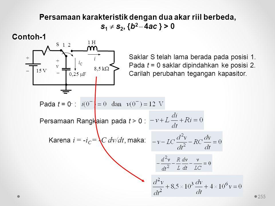 Contoh-1 Saklar S telah lama berada pada posisi 1. Pada t = 0 saklar dipindahkan ke posisi 2. Carilah perubahan tegangan kapasitor. Karena i = -i C =