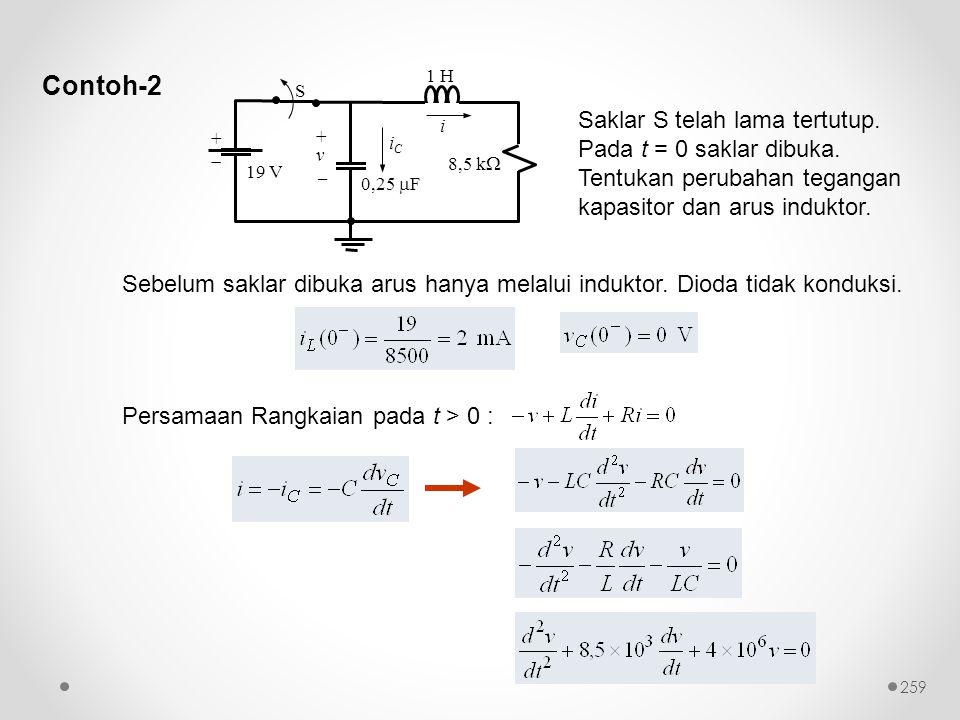 Contoh-2 Sebelum saklar dibuka arus hanya melalui induktor. Dioda tidak konduksi. Persamaan Rangkaian pada t > 0 : Saklar S telah lama tertutup. Pada