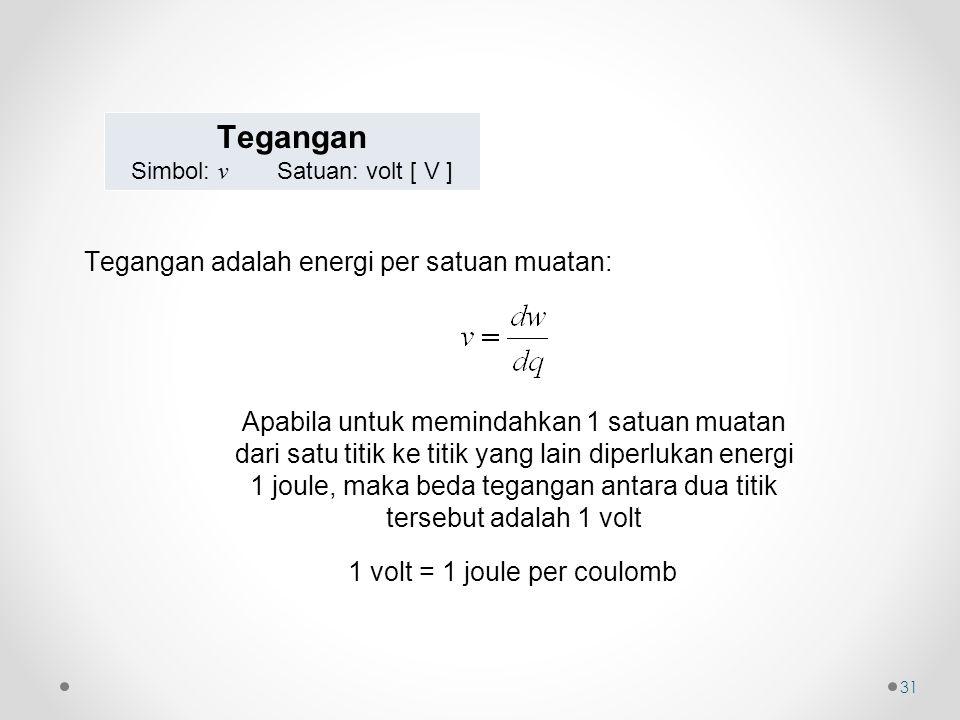 Tegangan Simbol: v Satuan: volt [ V ] Tegangan adalah energi per satuan muatan: Apabila untuk memindahkan 1 satuan muatan dari satu titik ke titik yan