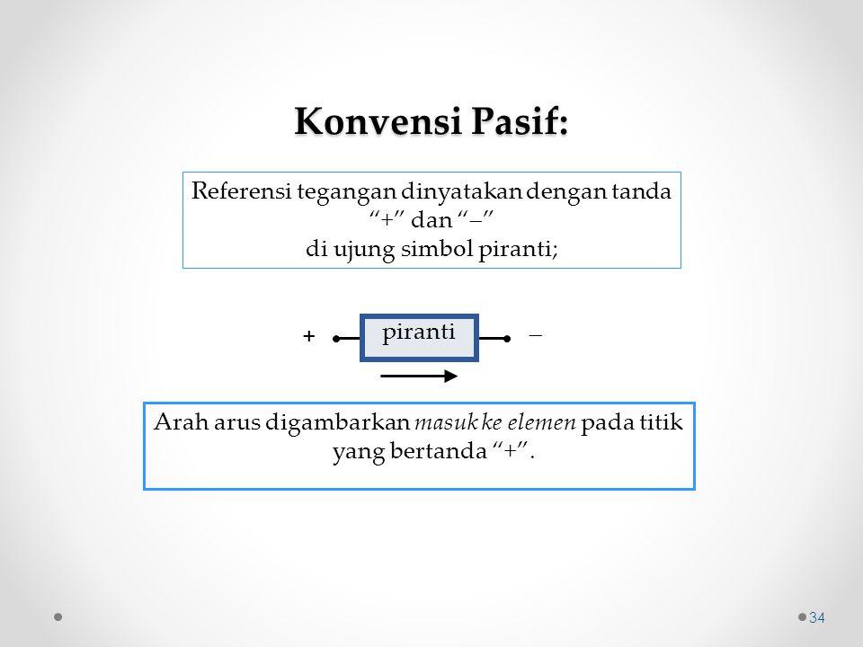 """piranti +  Konvensi Pasif: Referensi tegangan dinyatakan dengan tanda """"+"""" dan """"  """" di ujung simbol piranti; Arah arus digambarkan masuk ke elemen pa"""