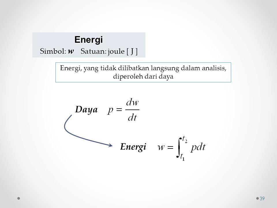Energi Simbol: w Satuan: joule [ J ] Daya Energi Energi, yang tidak dilibatkan langsung dalam analisis, diperoleh dari daya 39