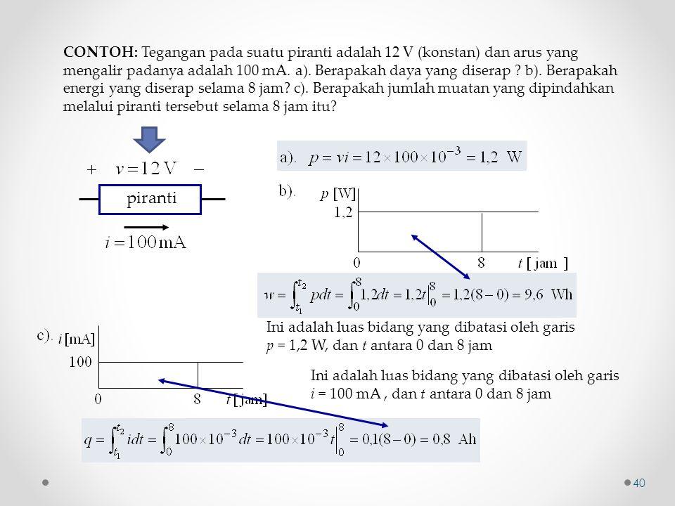CONTOH: Tegangan pada suatu piranti adalah 12 V (konstan) dan arus yang mengalir padanya adalah 100 mA. a). Berapakah daya yang diserap ? b). Berapaka
