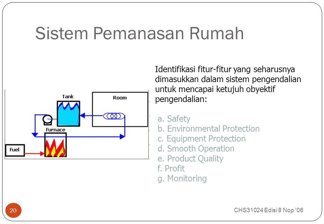 Sistem Pemanasan Rumah CHS31024 Edisi 8 Nop '06 20 Identifikasi fitur-fitur yang seharusnya dimasukkan dalam sistem pengendalian untuk mencapai ketuju