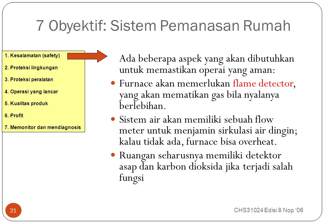 7 Obyektif: Sistem Pemanasan Rumah CHS31024 Edisi 8 Nop '06 21 Ada beberapa aspek yang akan dibutuhkan untuk memastikan operai yang aman: Furnace akan