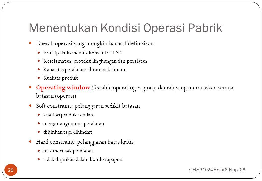 Menentukan Kondisi Operasi Pabrik CHS31024 Edisi 8 Nop 06 28 Daerah operasi yang mungkin harus didefinisikan Prinsip fisika: semua konsentrasi  0 Keselamatan, proteksi lingkungan dan peralatan Kapasitas peralatan: aliran maksimum Kualitas produk Operating window (feasible operating region): daerah yang memuaskan semua batasan (operasi) Soft constraint: pelanggaran sedikit batasan kualitas produk rendah mengurangi umur peralatan diijinkan tapi dihindari Hard constraint: pelanggaran batas kritis bisa merusak peralatan tidak diijinkan dalam kondisi apapun